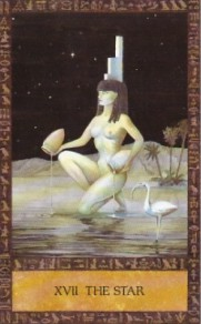 One of my favorite tarot images, Isis as The Star in the Ancient Egyptian Tarot by Clive Barrett