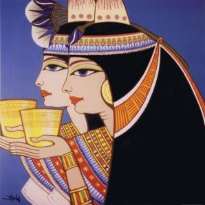 Noble ladies enjoying their wine; art by