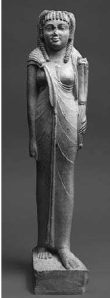 Arsinoe II with Isis knot dress and missing her headdress