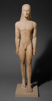 An early Greek kouros looking very Egyptian-influenced