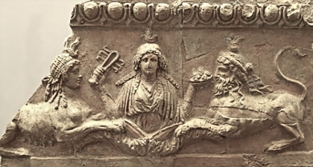 Isis with sistrum and bowl of fruit between female and male sphinxes, from the temple of Palatine Apollo