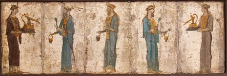 Roman priestesses and priests of Isis, the urnula is carried by the priestess on the far right