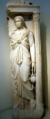 Funerary relief of Alexandra in Isis dress, from Roman-era Athens