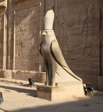 Horus as a falcon at His great temple at Edfu