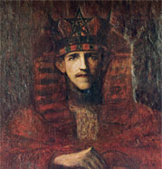 Moina's portrait of her husband in his GD regalia; MacGregor met Moina in the British Museum as she was drawing Egyptian antiquities. Egypt had long been a passion for both.