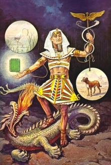Hermes Trismegistos as a rather pale pharaoh as pictured in Manly P. Halls Secret Teachings of All Ages