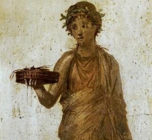 Roman girl making offering