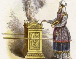 Hebrew priest making offering