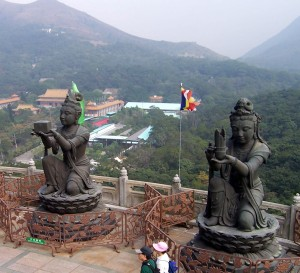 Two of the six Devas making continual offering in Hong Kong